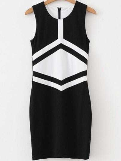 Black White Sleeveless Geometric Print Bodycon Dress