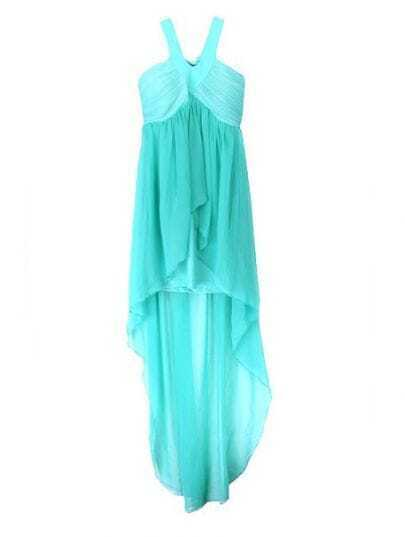 Green Halter Asymmetrical Pleated Chiffon Dress