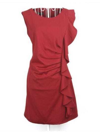 Wine Red Sleeveless Ruffles Pleated Slim Dress