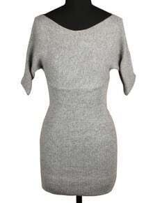 Grey V Neck Short Sleeve Bodycon Knit Dress