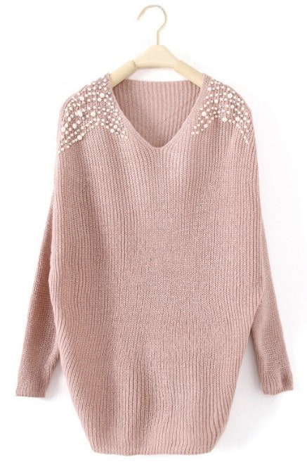 Pink Batwing Long Sleeve Pearls Pullovers Sweater -SheIn(Sheinside)