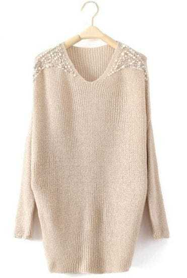 Beige Batwing Long Sleeve Pearls Pullovers Sweater