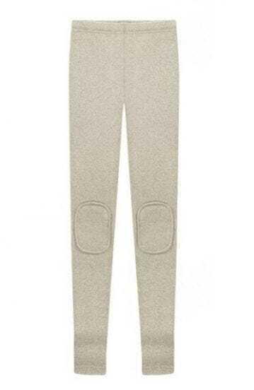 Light Grey Skinny Knee Patch Leggings