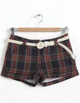 Blue Mid Drawstring Waist Plaid Shorts
