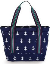 Navy Anchor Chunky Zip Closure Cotton Canvas Tote