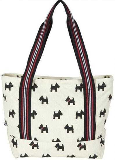 White Scottie Dog Chunky Zip Closure Cotton Canvas Tote