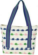 White Whale Chunky Zip Closure Cotton Canvas Tote