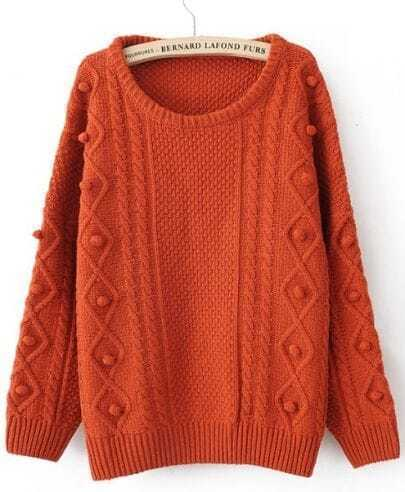Orange Round Neck Long Sleeve Pom Embellished Pullovers Sweater
