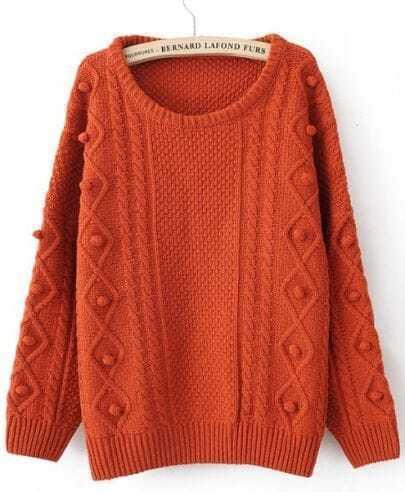 Orange Round Neck Long Sleeve Pom Embellished Pullovers Sweater