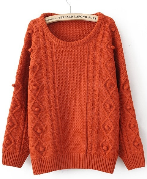 Orange Round Neck Long Sleeve Pom Embellished Pullovers Sweater ...