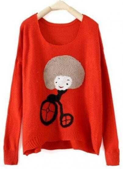 Red Round Neck Long Sleeve Girl Print Pullovers Sweater