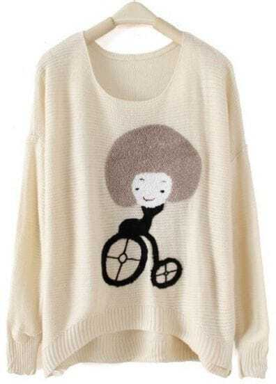 Beige Round Neck Long Sleeve Girl Print Pullovers Sweater
