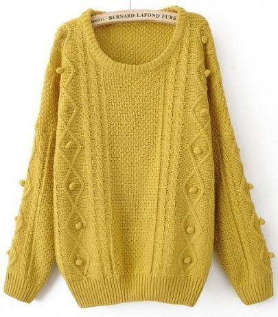 Yellow Round Neck Long Sleeve Pom Embellished Pullovers Sweater