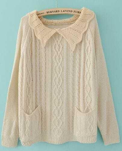 Beige Lapel Long Sleeve Pockets Pullovers Sweater