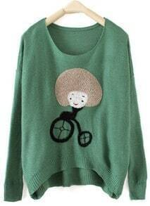 Green Round Neck Long Sleeve Girl Print Pullovers Sweater