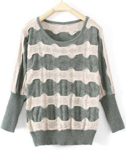 Green Batwing Long Sleeve Striped Pullovers Sweater