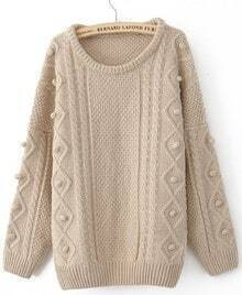 Khaki Round Neck Long Sleeve Pom Embellished Pullovers Sweater