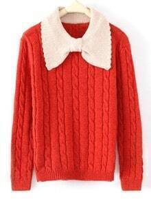 Red Long Sleeve Bow Neck Serratula Pullovers Sweater