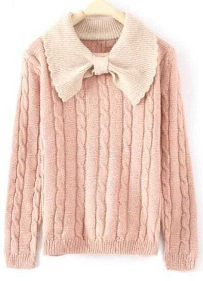 Pink Long Sleeve Bow Neck Serratula Pullovers Sweater