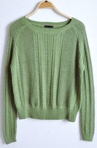 Green Round Neck Long Sleeve Hollow Pullovers Sweater
