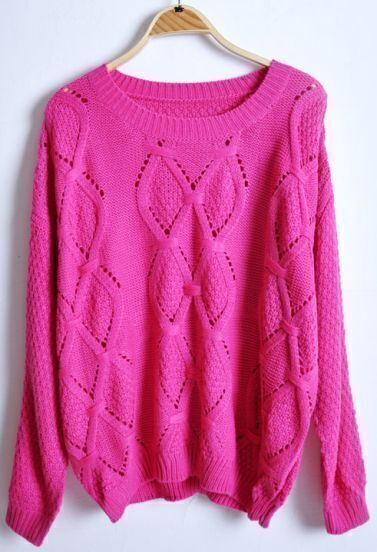 Rose Red Long Sleeve Hollow Rhombus Pullovers Sweater
