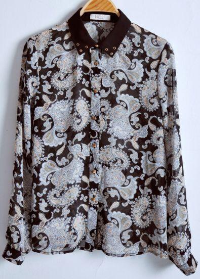 Black Lapel Long Sleeve Floral Chiffon Shirt