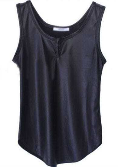 Black Sleeveless Contrast PU Leather T-Shirt