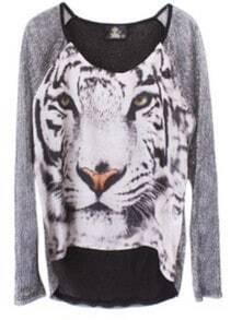 Silver Round Neck Long Sleeve Tiger Print Sheer T-Shirt