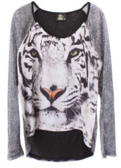 Silver Round Neck Long Sleeve Tiger Print Sheer T-Shirt