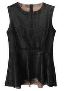 Black Sleeveless Hollow Ruffles Contrast PU Leather T-Shirt