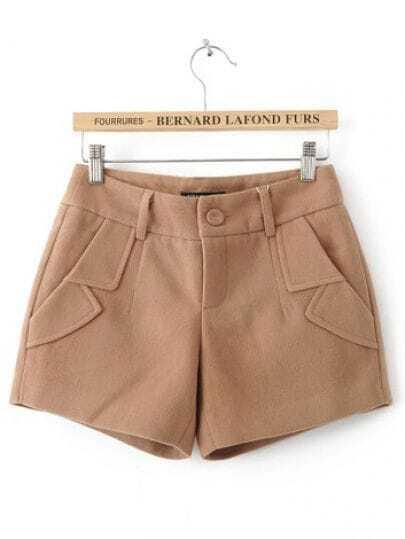 Khaki Turn Up Pockets Embellished Shorts