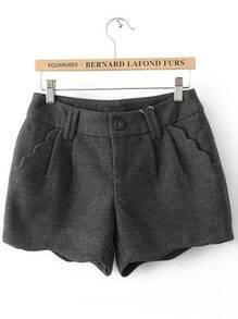 Grey Button Fly Ruffles Pockets Shorts