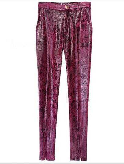 Wine Red Skinny Snakeskin Zipper Leggings