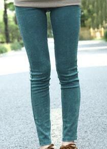 Green Skinny Snow Dot Elasic Denim Leggings
