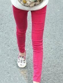 Rose Red Skinny Snow Dot Elasic Denim Leggings