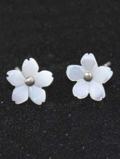 White Carving Five Petal Flower Stud Earrings