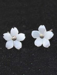 White Carving Five Petal Flower Stud Earrings