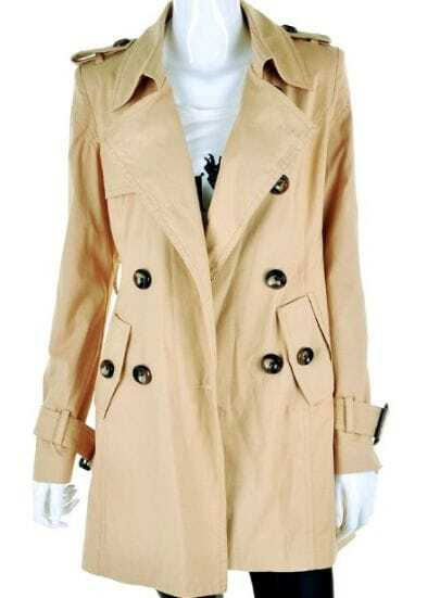 Khaki Long Sleeve Epaulet Buttons Trench Coat