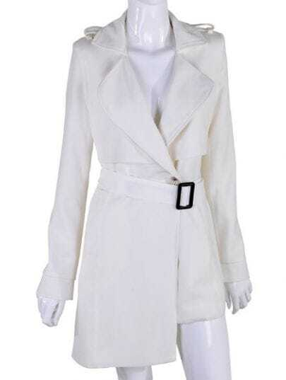 White Long Sleeve Asymmetrical Trench Coat
