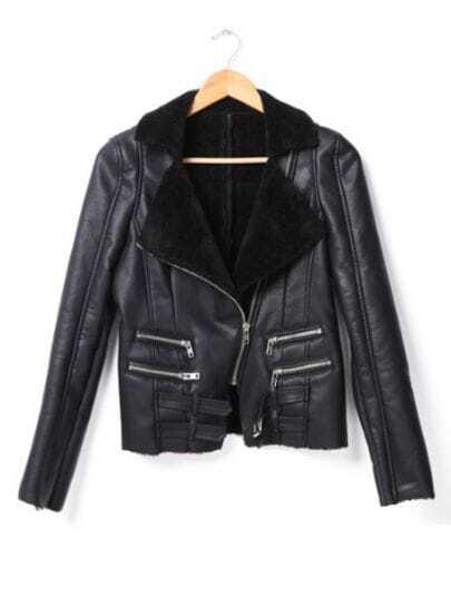 Black Long Sleeve Zipper Contrast PU Leather Coat
