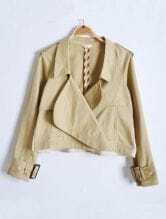 Khaki Lapel Long Sleeve Epaulet Pockets Crop Trench Coat