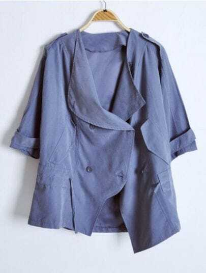 Blue Batwing Sleeve Drawstring Waist Trench Coat