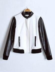 White Contrast Leather Long Sleeve Zipper Jacket
