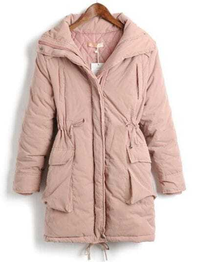 Pink Long Sleeve Drawstring Waist Zipper Pockets Coat