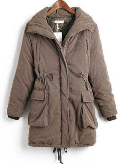 Brown Long Sleeve Drawstring Waist Zipper Pockets Coat
