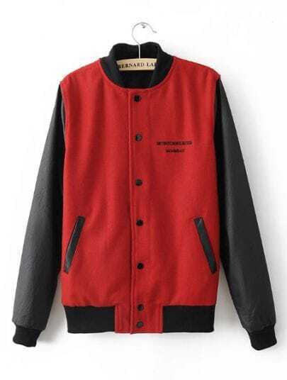 Red Black Long Sleeve Eye Print Pockets Coat