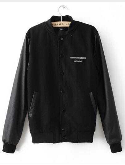 Black Long Sleeve Eye Print Pockets Coat