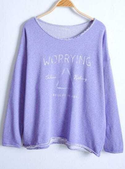 Purple Batwing Long Sleeve Letters Print Sweater