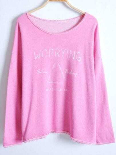 Rose Red Batwing Long Sleeve Letters Print Sweater