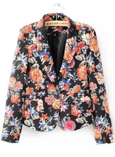 Multi Long Sleeve Single Button Floral Suit